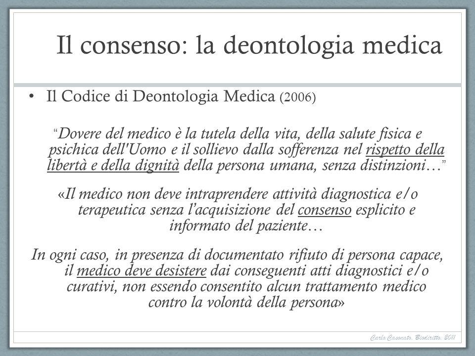 Il consenso: la deontologia medica