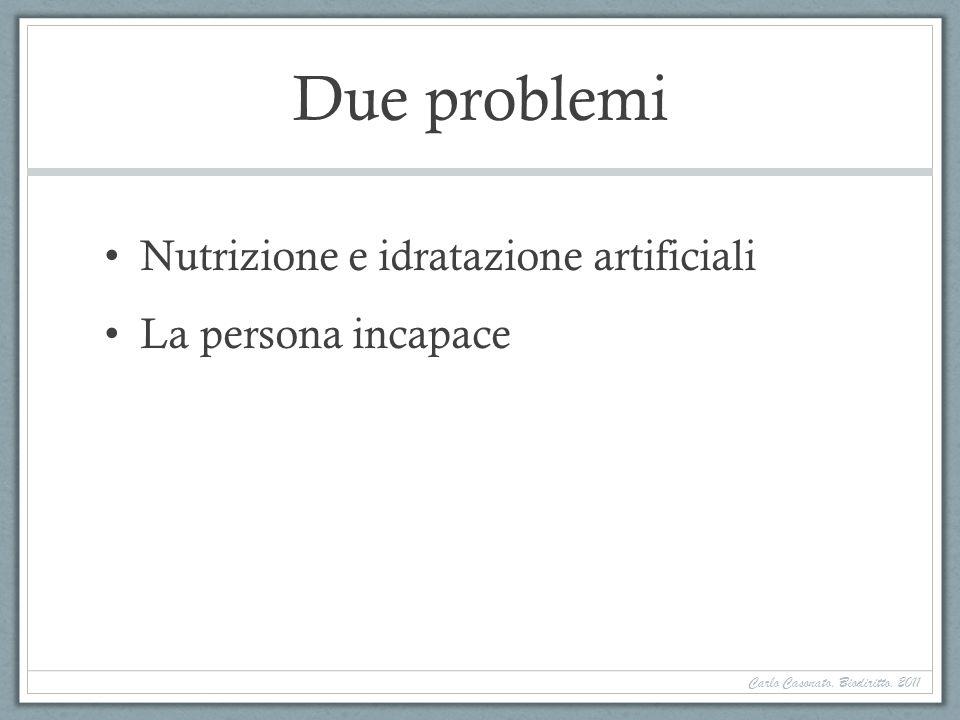 Due problemi Nutrizione e idratazione artificiali La persona incapace