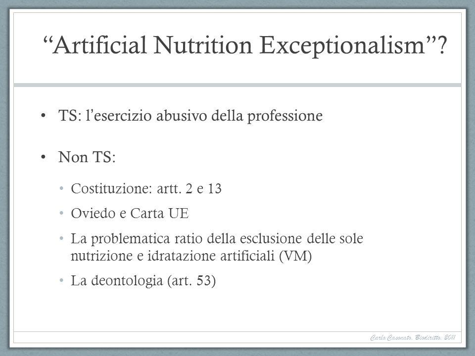 Artificial Nutrition Exceptionalism