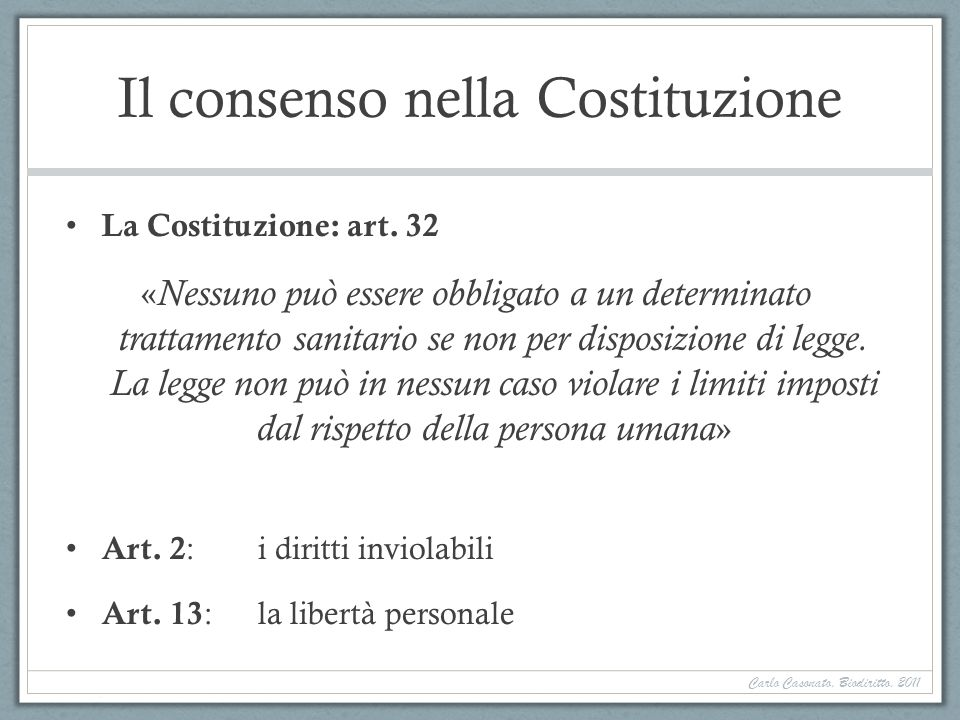 Il consenso nella Costituzione