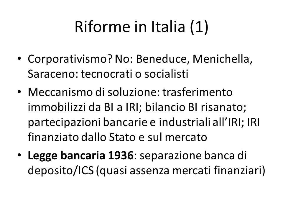 Riforme in Italia (1) Corporativismo No: Beneduce, Menichella, Saraceno: tecnocrati o socialisti.