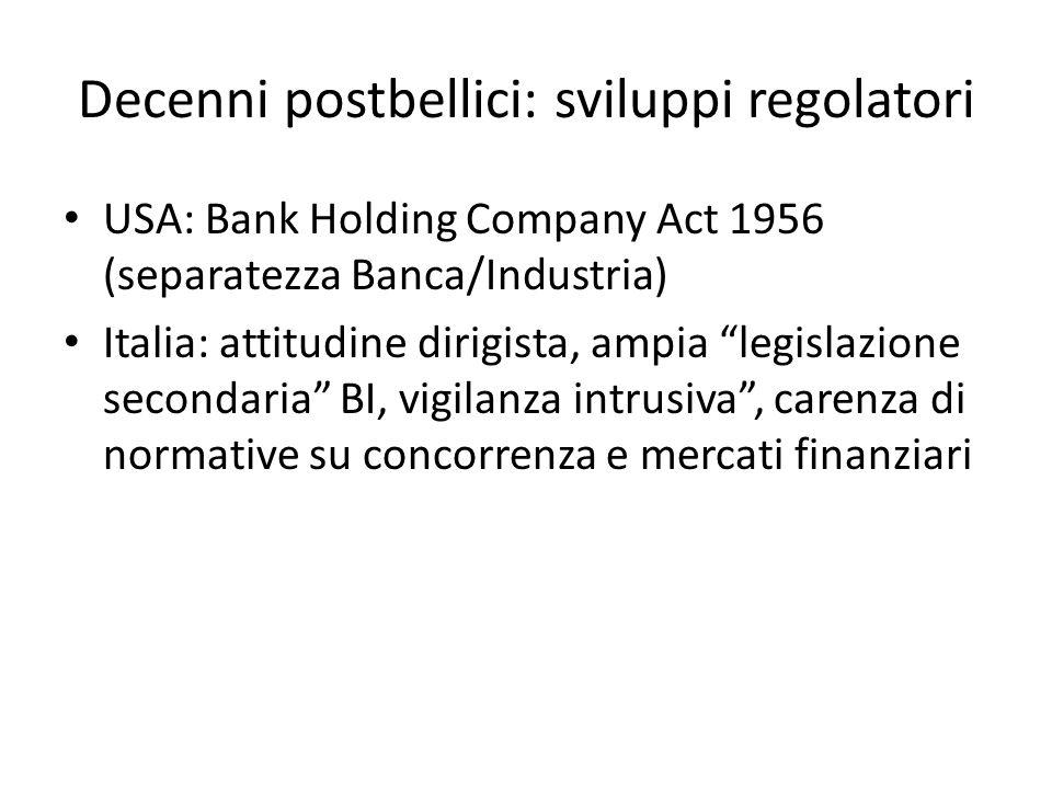 Decenni postbellici: sviluppi regolatori