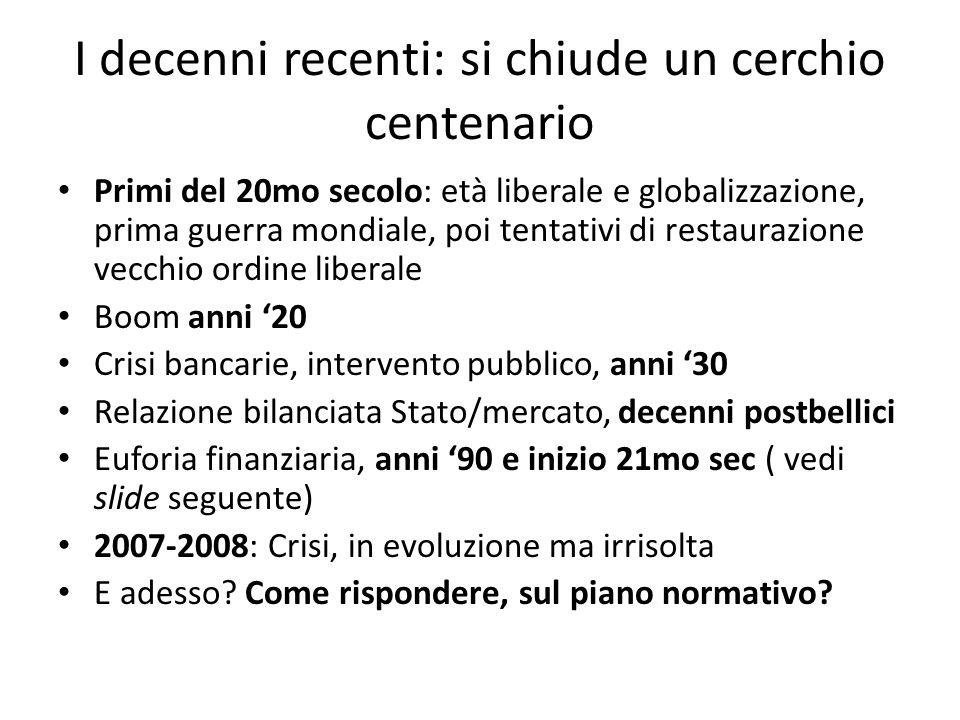 I decenni recenti: si chiude un cerchio centenario