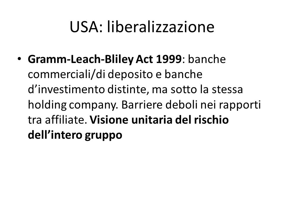 USA: liberalizzazione