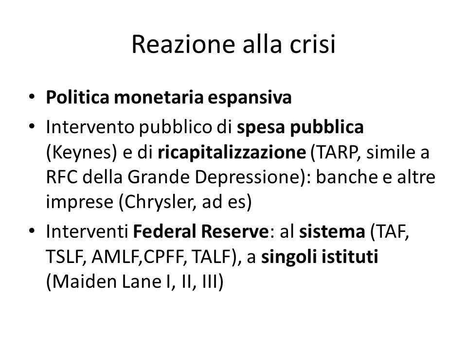 Reazione alla crisi Politica monetaria espansiva