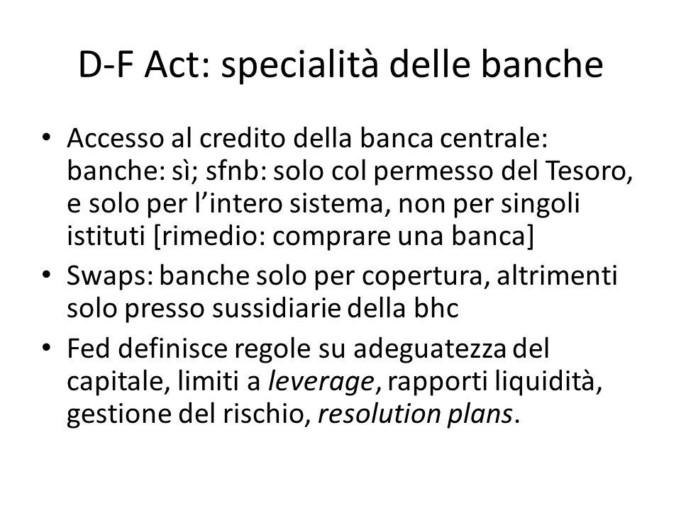 D-F Act: specialità delle banche