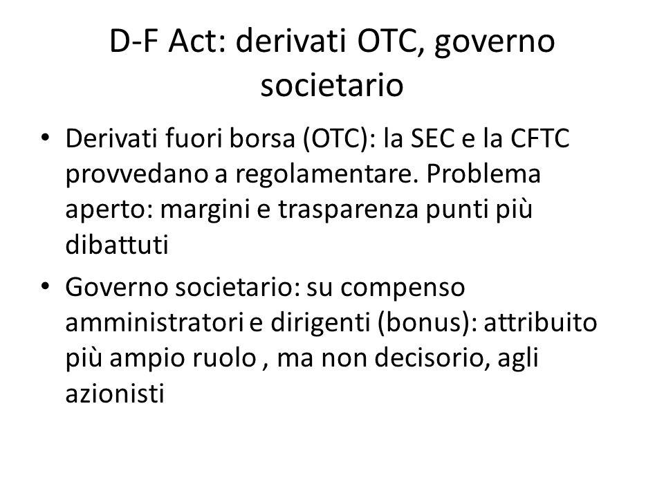 D-F Act: derivati OTC, governo societario