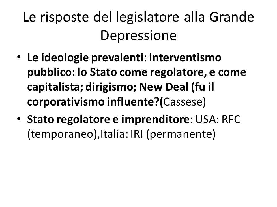 Le risposte del legislatore alla Grande Depressione