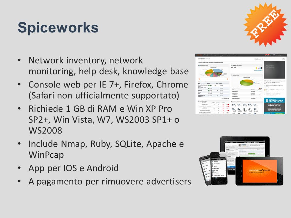 Spiceworks Network inventory, network monitoring, help desk, knowledge base.