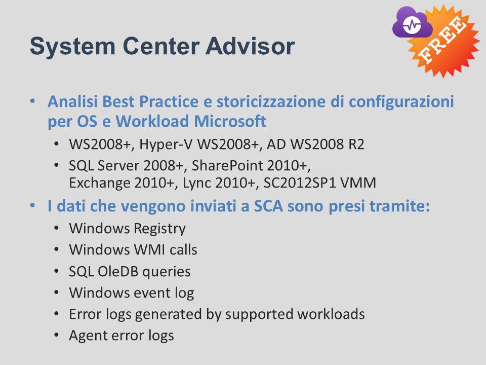 System Center Advisor Analisi Best Practice e storicizzazione di configurazioni per OS e Workload Microsoft.