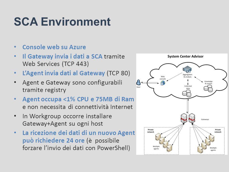 SCA Environment Console web su Azure