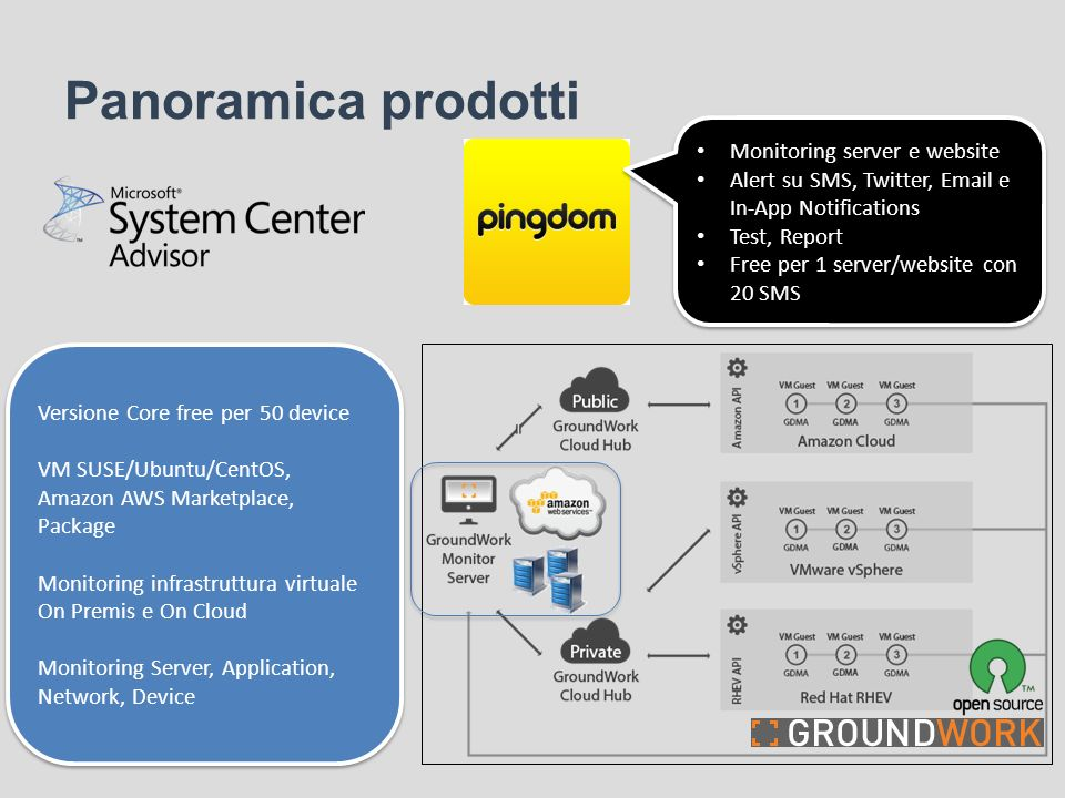 Panoramica prodotti Monitoring server e website
