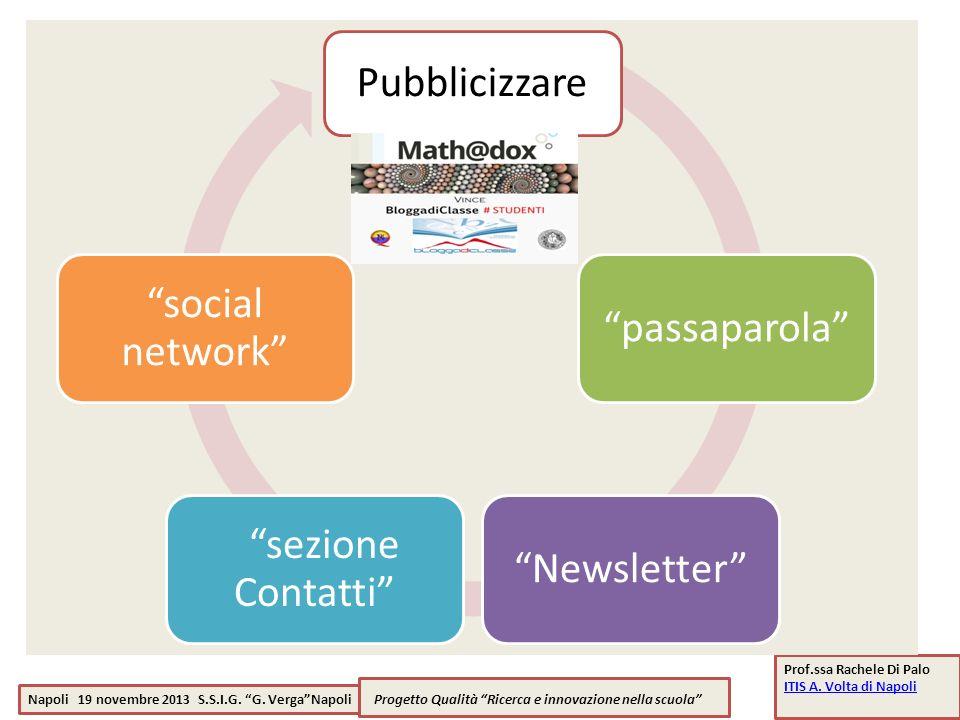 Pubblicizzare social network passaparola sezione Contatti