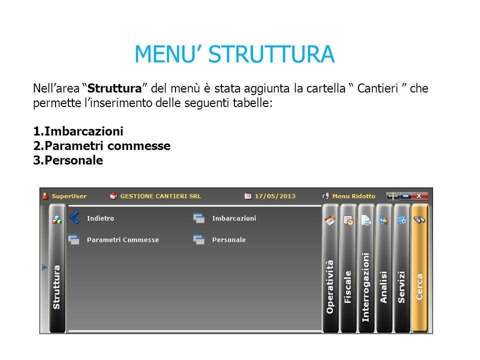 MENU' STRUTTURA Nell'area Struttura del menù è stata aggiunta la cartella Cantieri che permette l'inserimento delle seguenti tabelle:
