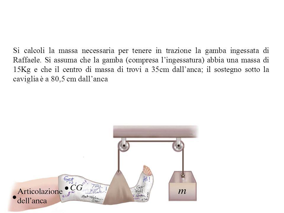 Si calcoli la massa necessaria per tenere in trazione la gamba ingessata di Raffaele.