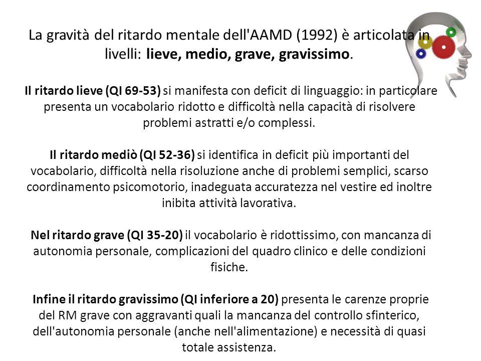 La gravità del ritardo mentale dell AAMD (1992) è articolata in livelli: lieve, medio, grave, gravissimo.