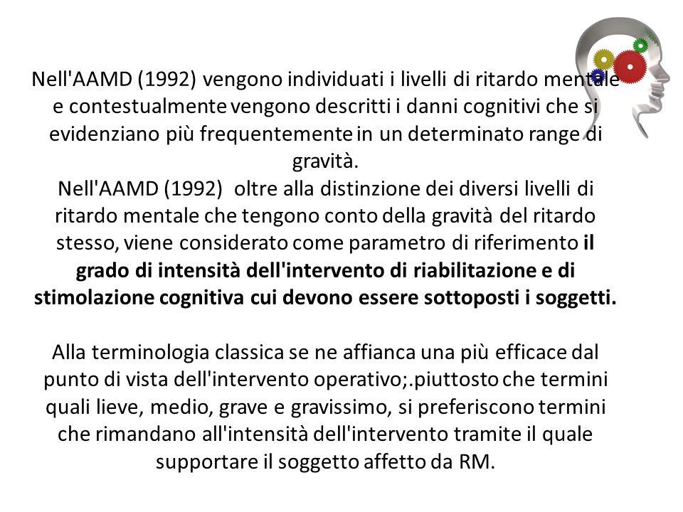 Nell AAMD (1992) vengono individuati i livelli di ritardo mentale e contestualmente vengono descritti i danni cognitivi che si evidenziano più frequentemente in un determinato range di gravità.