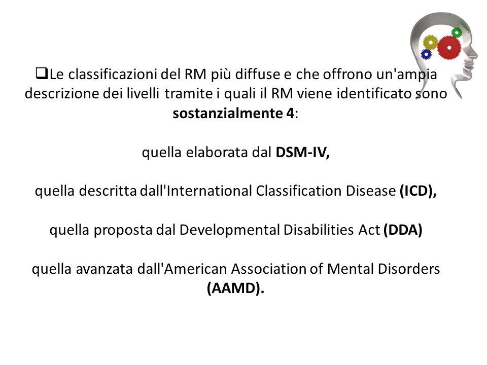 Le classificazioni del RM più diffuse e che offrono un ampia descrizione dei livelli tramite i quali il RM viene identificato sono sostanzialmente 4: quella elaborata dal DSM-IV, quella descritta dall International Classification Disease (ICD), quella proposta dal Developmental Disabilities Act (DDA) quella avanzata dall American Association of Mental Disorders (AAMD).