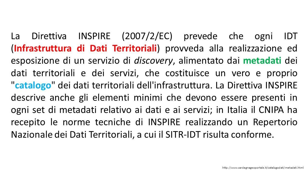 La Direttiva INSPIRE (2007/2/EC) prevede che ogni IDT (Infrastruttura di Dati Territoriali) provveda alla realizzazione ed esposizione di un servizio di discovery, alimentato dai metadati dei dati territoriali e dei servizi, che costituisce un vero e proprio catalogo dei dati territoriali dell infrastruttura. La Direttiva INSPIRE descrive anche gli elementi minimi che devono essere presenti in ogni set di metadati relativo ai dati e ai servizi; in Italia il CNIPA ha recepito le norme tecniche di INSPIRE realizzando un Repertorio Nazionale dei Dati Territoriali, a cui il SITR-IDT risulta conforme.