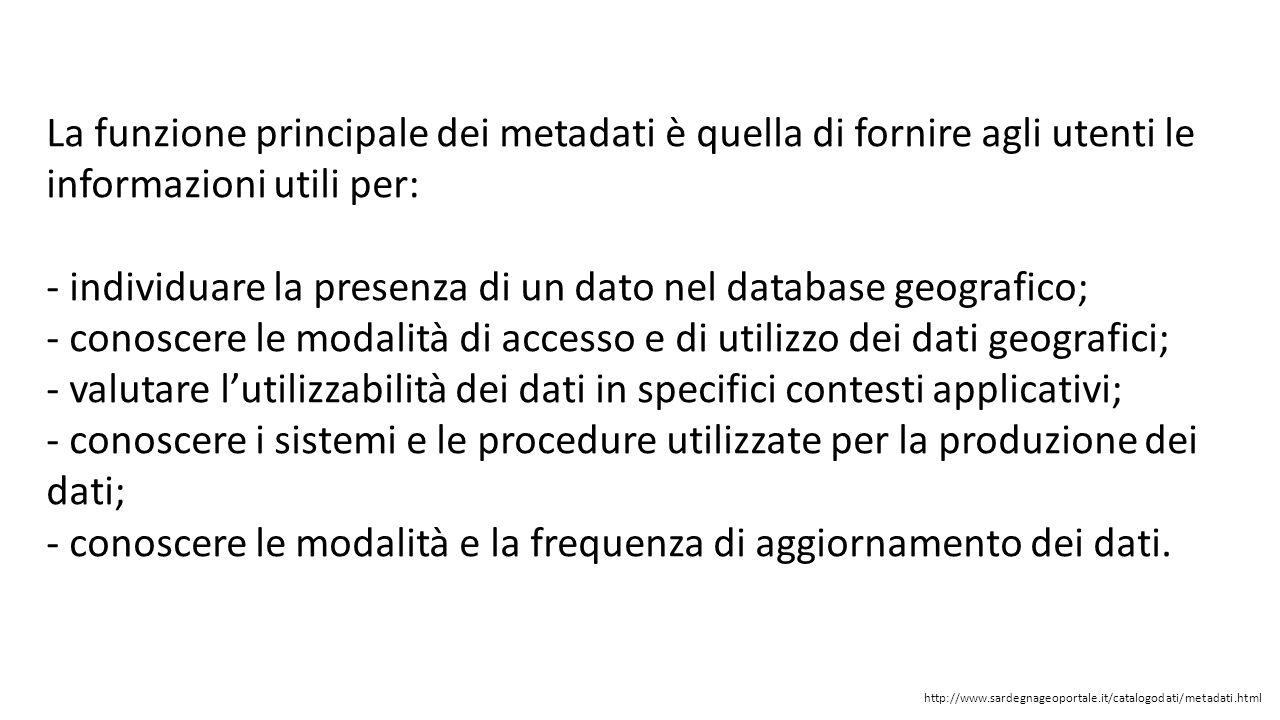 La funzione principale dei metadati è quella di fornire agli utenti le informazioni utili per:
