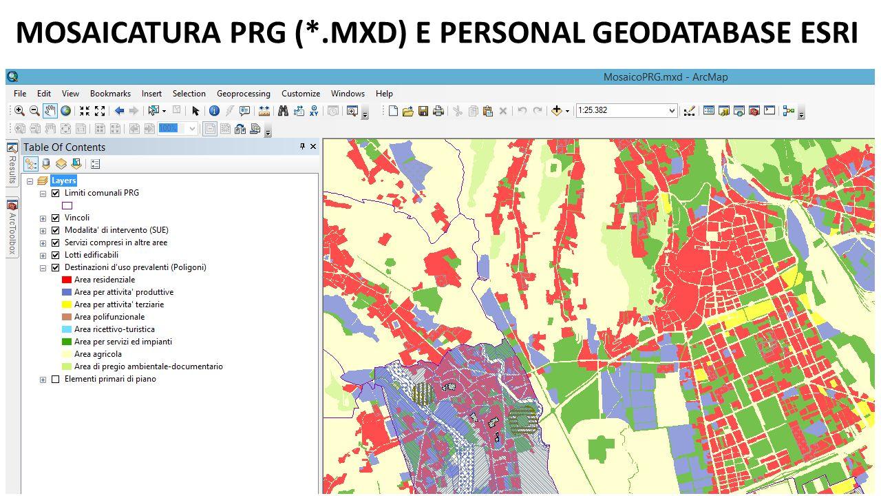 MOSAICATURA PRG (*.MXD) E PERSONAL GEODATABASE ESRI