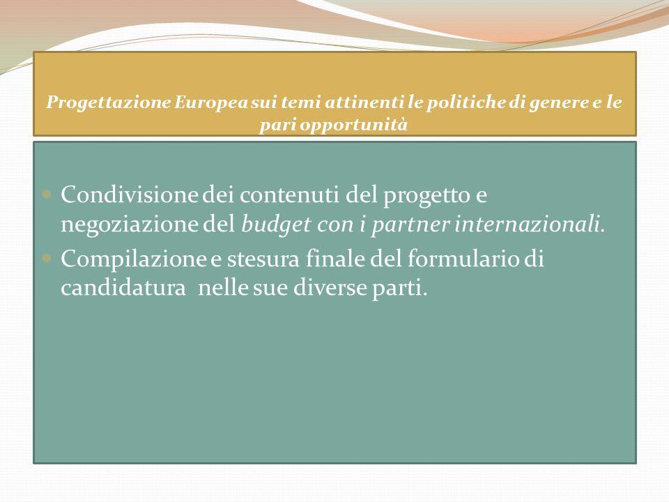 Progettazione Europea sui temi attinenti le politiche di genere e le pari opportunità