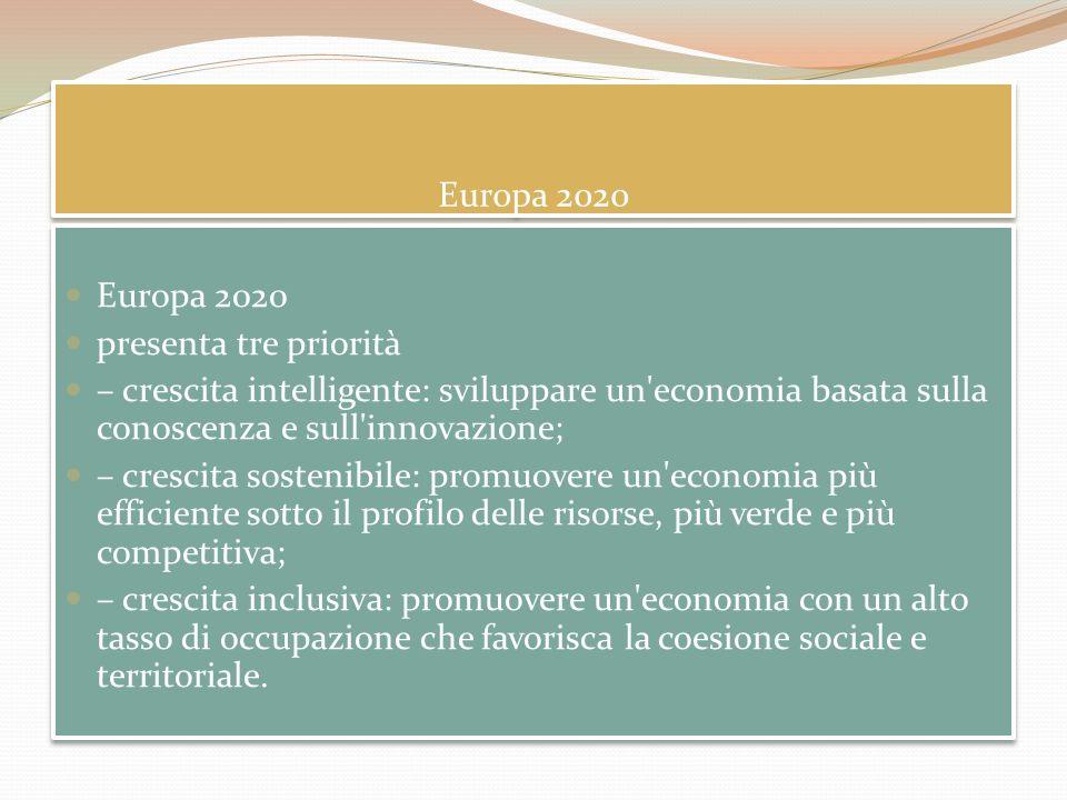 Europa 2020 Europa 2020. presenta tre priorità. – crescita intelligente: sviluppare un economia basata sulla conoscenza e sull innovazione;