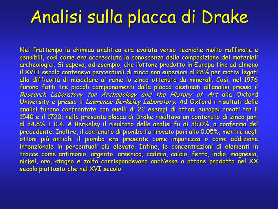 Analisi sulla placca di Drake