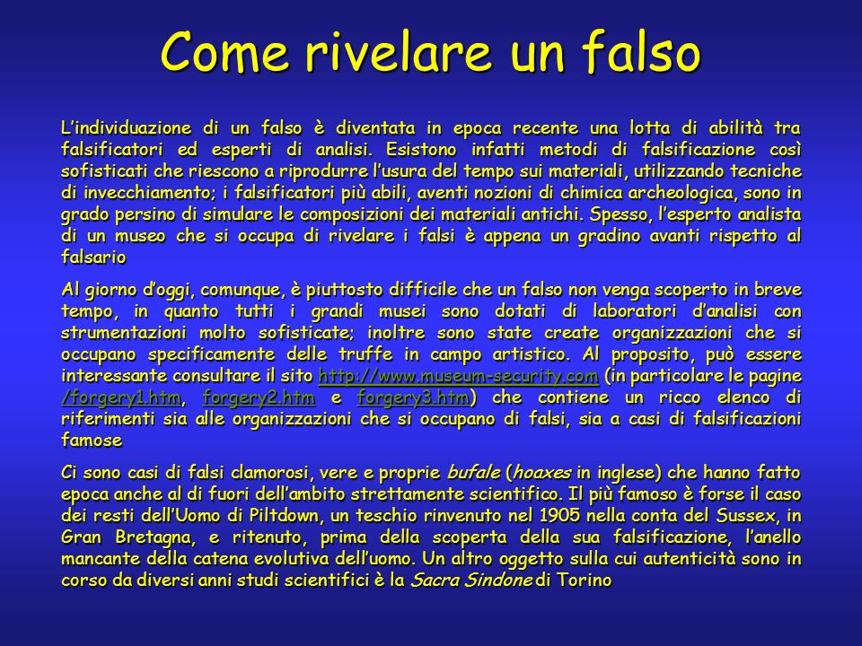 Come rivelare un falso