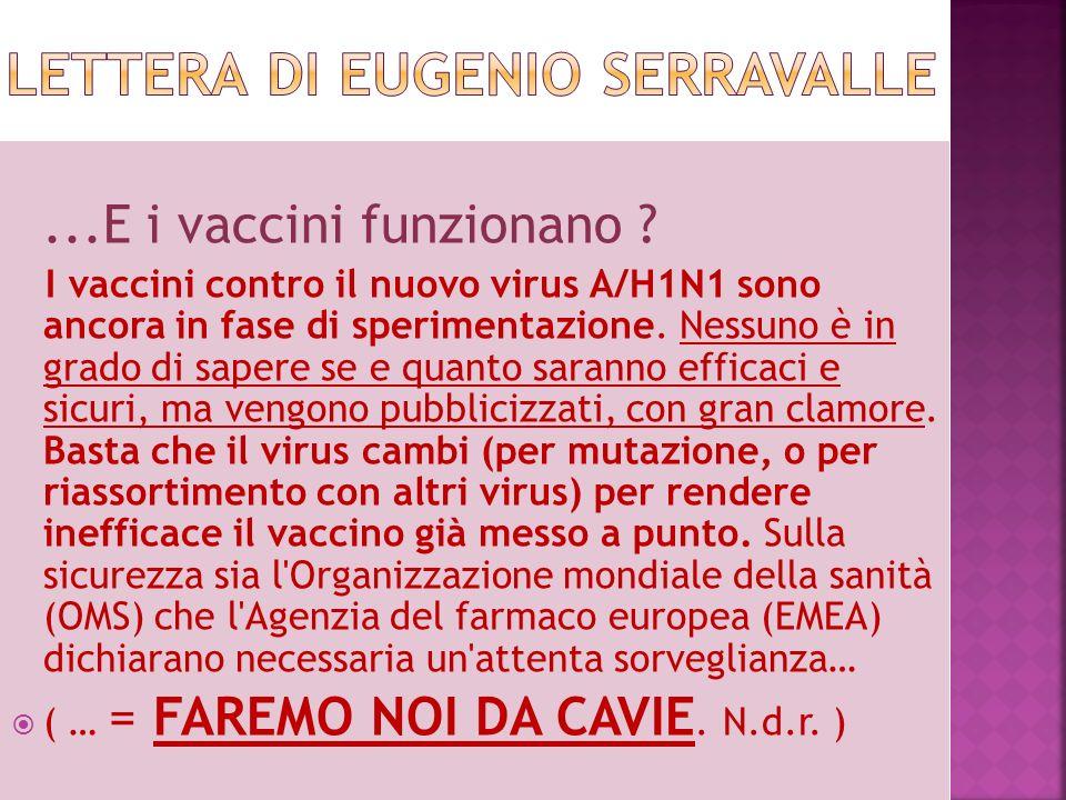 Lettera di Eugenio Serravalle