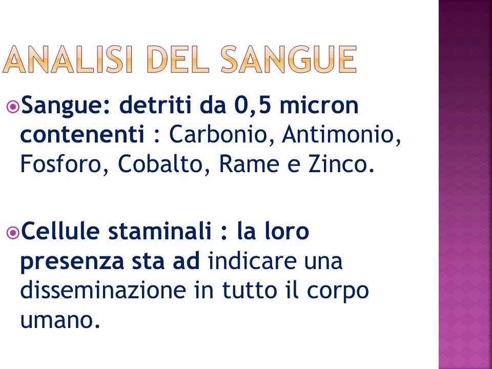 ANALISI del sangue Sangue: detriti da 0,5 micron contenenti : Carbonio, Antimonio, Fosforo, Cobalto, Rame e Zinco.