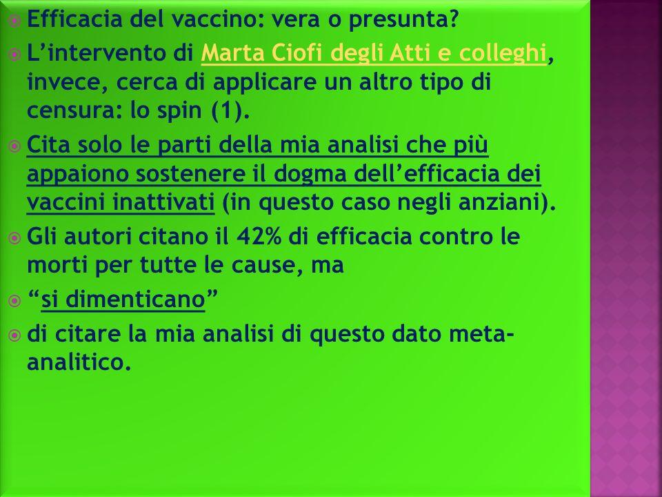 Efficacia del vaccino: vera o presunta