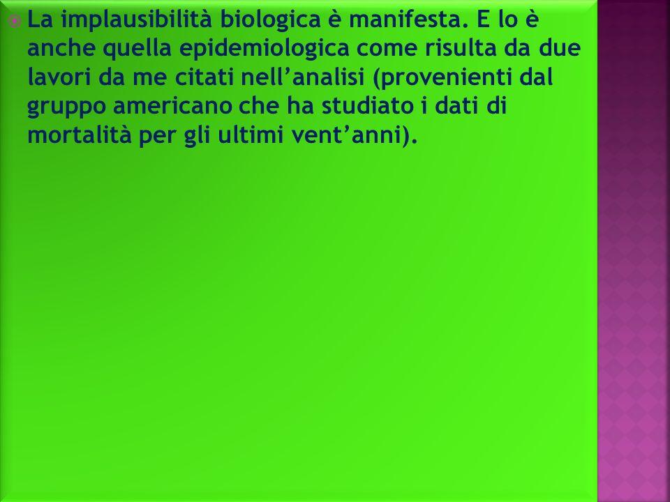 La implausibilità biologica è manifesta