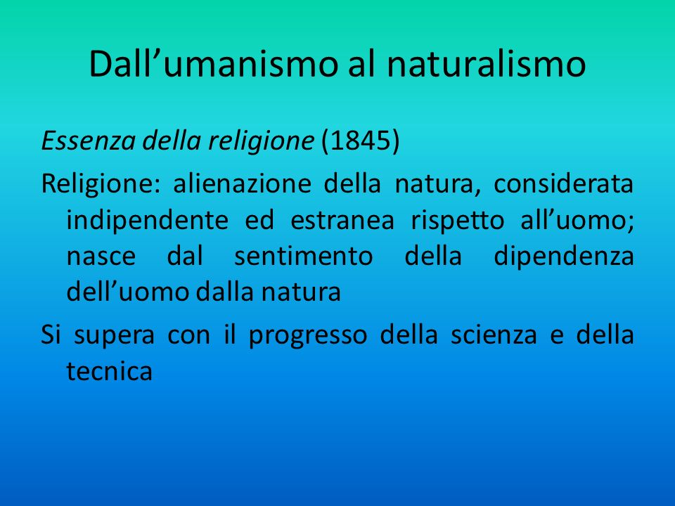 Dall'umanismo al naturalismo