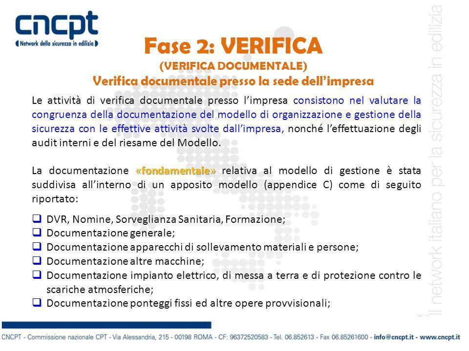 Fase 2: VERIFICA Verifica documentale presso la sede dell'impresa