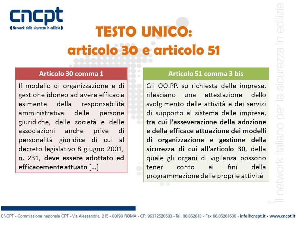 TESTO UNICO: articolo 30 e articolo 51