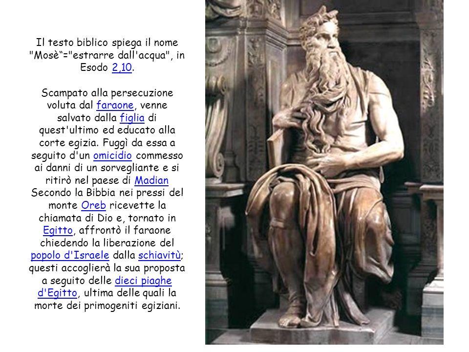 Il testo biblico spiega il nome Mosè = estrarre dall acqua , in Esodo 2,10.