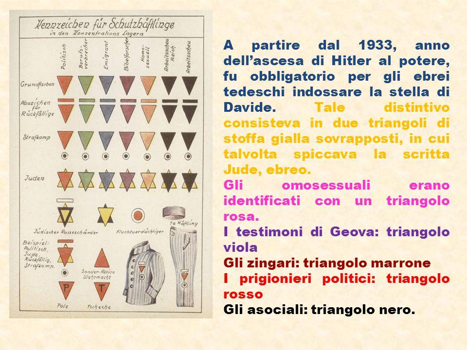 A partire dal 1933, anno dell'ascesa di Hitler al potere, fu obbligatorio per gli ebrei tedeschi indossare la stella di Davide. Tale distintivo consisteva in due triangoli di stoffa gialla sovrapposti, in cui talvolta spiccava la scritta Jude, ebreo.
