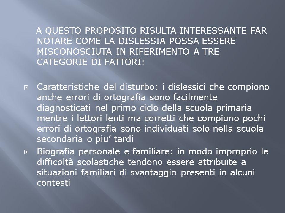 A QUESTO PROPOSITO RISULTA INTERESSANTE FAR NOTARE COME LA DISLESSIA POSSA ESSERE MISCONOSCIUTA IN RIFERIMENTO A TRE CATEGORIE DI FATTORI: