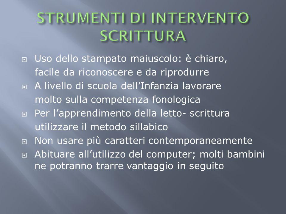 STRUMENTI DI INTERVENTO SCRITTURA