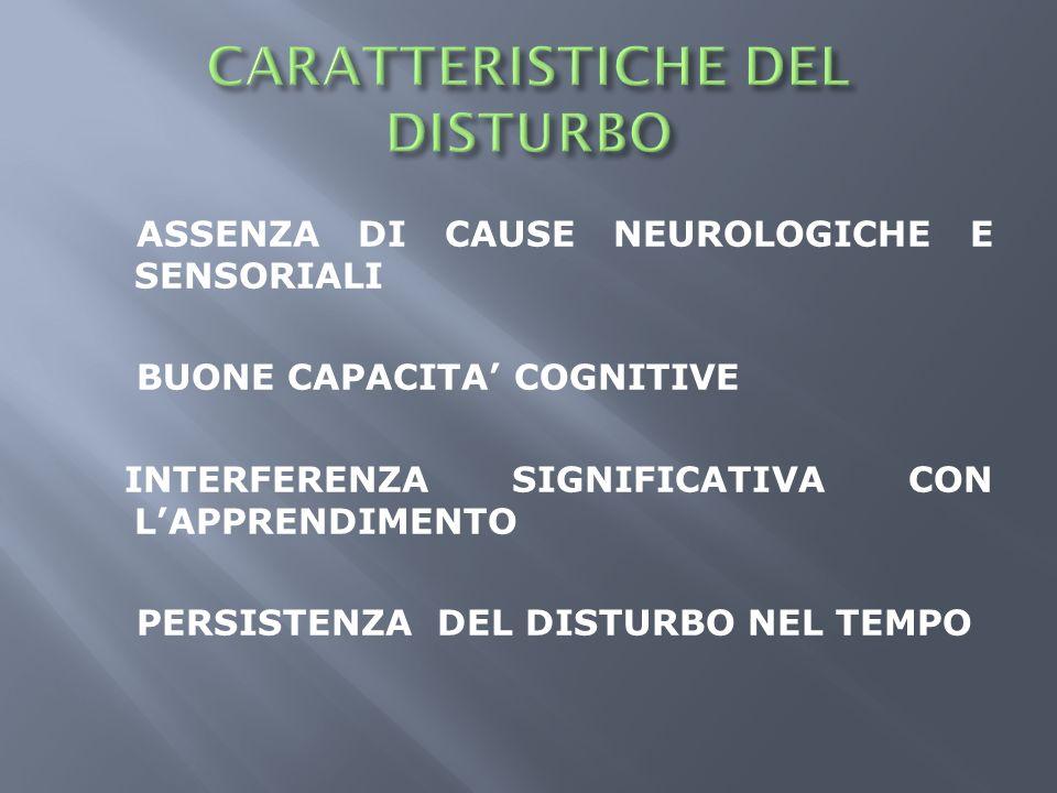 CARATTERISTICHE DEL DISTURBO
