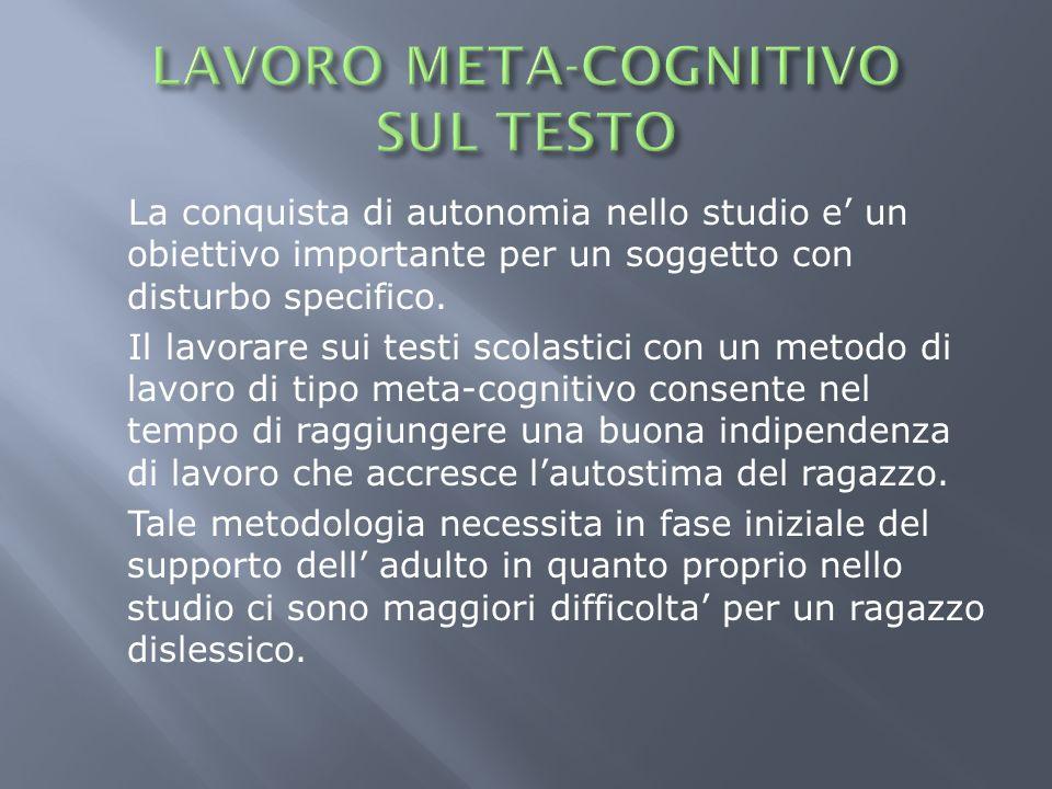 LAVORO META-COGNITIVO SUL TESTO