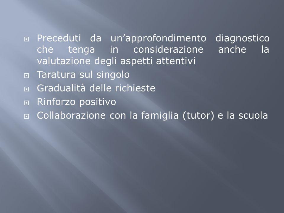 Preceduti da un'approfondimento diagnostico che tenga in considerazione anche la valutazione degli aspetti attentivi