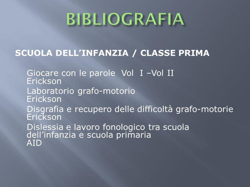 BIBLIOGRAFIA SCUOLA DELL'INFANZIA / CLASSE PRIMA