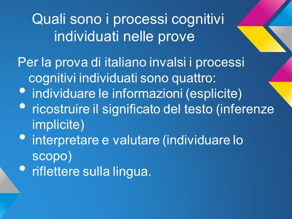Quali sono i processi cognitivi individuati nelle prove