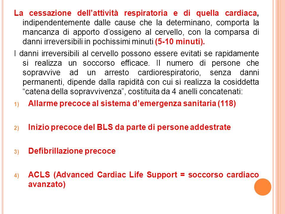 La cessazione dell'attività respiratoria e di quella cardiaca, indipendentemente dalle cause che la determinano, comporta la mancanza di apporto d'ossigeno al cervello, con la comparsa di danni irreversibili in pochissimi minuti (5-10 minuti).