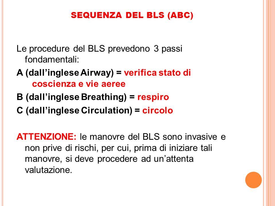 Le procedure del BLS prevedono 3 passi fondamentali: