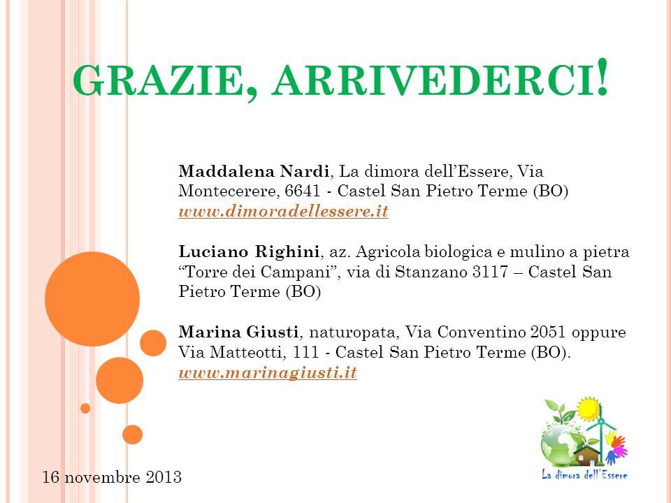 grazie, arrivederci! Maddalena Nardi, La dimora dell'Essere, Via Montecerere, 6641 - Castel San Pietro Terme (BO)