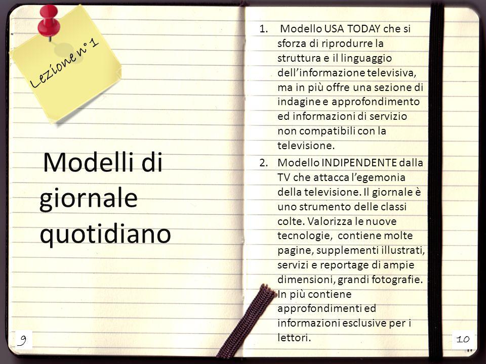 Lezione n° 1 Modelli di giornale quotidiano
