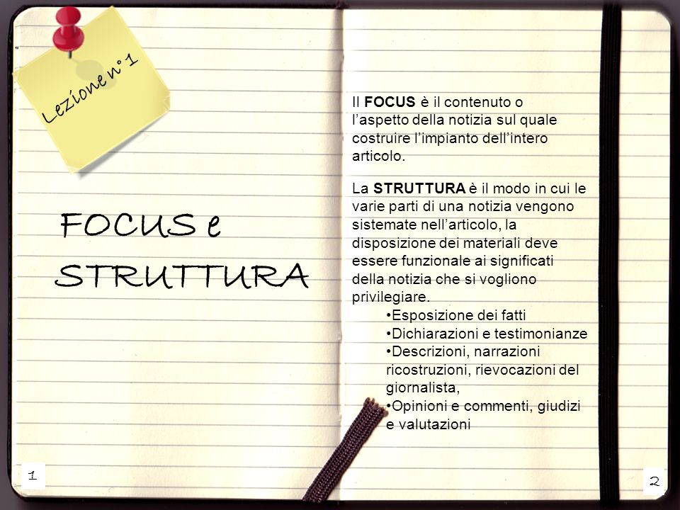 Lezione n° 1 FOCUS e STRUTTURA 1 2